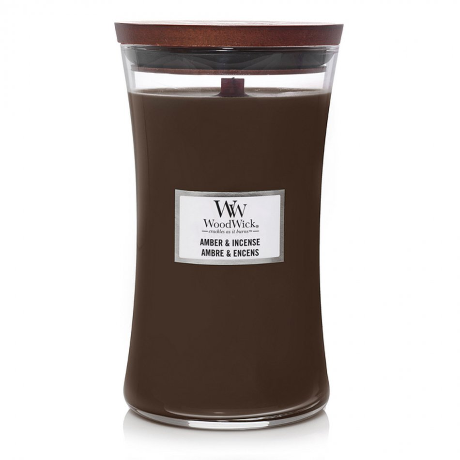 Woodwick Hourglass Large Geurkaars - Amber & Incense